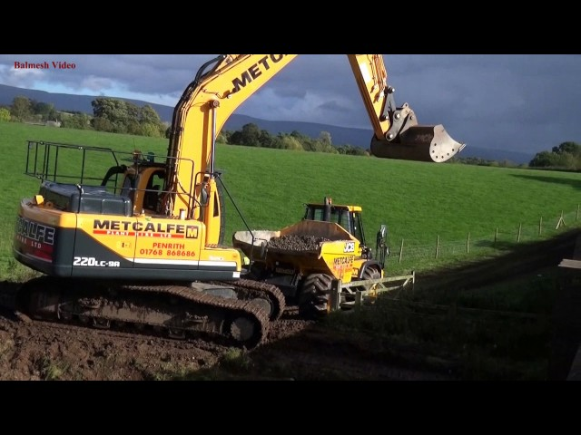 Flood Damage Repair – Bridge Work (2).  JCB And Hyundai Action