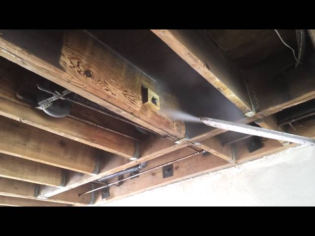 Fire Damage Restoration Soot Removal On Wood Using American Dry Ice Blasting